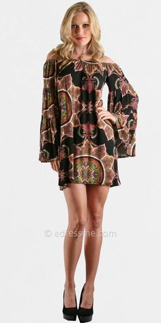 Black Off the Shoulder Pattern Dress by Voom Sold Out thestylecure.com