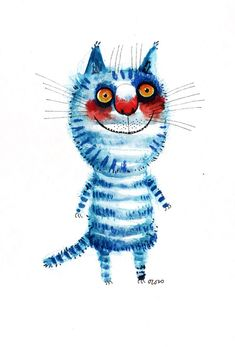The striped blue cat original painting by ozozo by ozozo on Etsy, €40.00