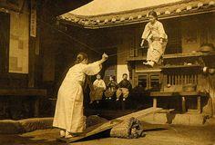 Korean girls playing Nol-Ttwigi (Korean see-saw), old Choson, Korea, 1890's