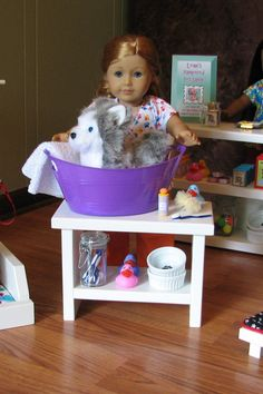 American Girl Doll Pampered Pet - Grooming Table / Wash Station with Accessories - APRIL 2014 SHIPPING ONLY