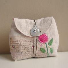 Pouch antique linen embroidered rose1 | Flickr: Intercambio de fotos