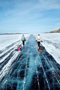 Amazing clear ice of Lake Baikal in Siberia.