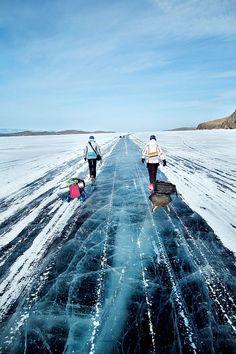 Amazing clear ice of Lake Baikal in Siberia.