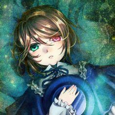 anime heterochromia / odd eyes green red (Souseiseki, Rozen Maiden)