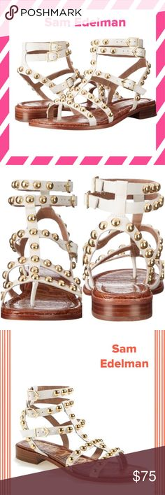 "NWOT Sam Edelman Eavan Gladiator Sandals White Leather with Gold Studs. Heel measures approx. 1"". Trio of adjustable ankle straps with buckle closures. No box. Sam Edelman Shoes Sandals"