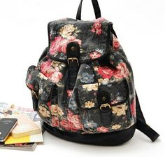 [grlhx120077]Cool Retro Black Flower Backpack Bag