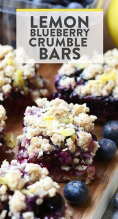 Lemon Blueberry Crumble Bars are gluten-free and made with whole and healthy ingredients. You can't beat the refreshing punch of lemon zest and the sweetness of the blueberries. It's the perfect healthy dessert bar recipe for all summer long! Lemon Blueberry Bars, Blueberry Desserts, Lemon Desserts, Köstliche Desserts, Gluten Free Desserts, Healthy Desserts, Dessert Recipes, Easter Desserts, Healthy Blueberry Recipes