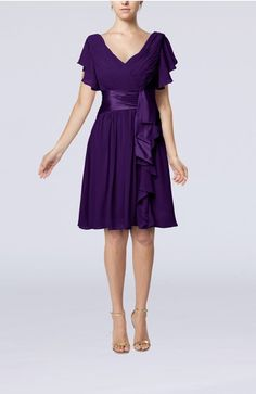 Royal Purple Modest A-line Zip up Knee Length Pleated Wedding Guest Dresses - iFitDress.com