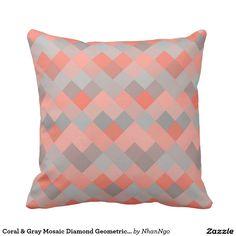 Coral & Gray Mosaic Diamond Geometric Pattern