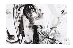 Black And White Abstract Brush Painting Art Print by shooarts at Art.com