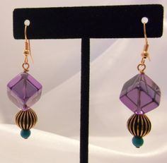 Genuine Amethyst Cubes, Turquoise, Copper fishhook earrings for sale at PSP Unique Jewelry @etsy.com Fish Hook Earrings, Drop Earrings, Gemstone Jewelry, Unique Jewelry, Beautiful One, Psp, Cubes, Amethyst, Copper
