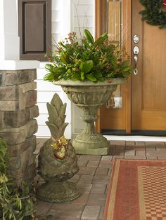 Create a warm welcome when guests arrive at your #home with this impressive #garden urn from Unique Stone, a family-owned company in NC. #MadeinUSA #BiltmoreForYourHome