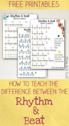 Piano Teaching Teaching Kids the Difference Between the Rhythm and the Beat - A fun and simple musical theory and rhythm game to teach the difference between finding the beat and the rhythm of a song to kids. Piano Teaching, Teaching Kids, Learning Piano, Solfege Piano, Music Lesson Plans, Music Worksheets, Music For Kids, Music Lessons For Kids, Music Theory