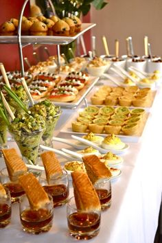Breakfast Bar | Devlied Eggs on serving spoons, Mini French toast cups, mini quiche, mini muffins | Jacqueline Shower