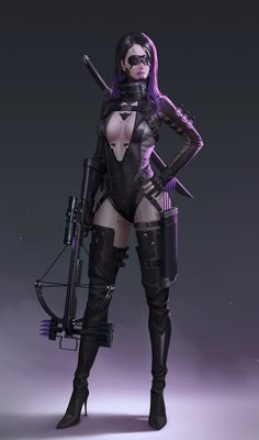 A female assassin in sexy night skinsuit with a crossbow, arrows and a sword on her back Fantasy Girl, Fantasy Female Warrior, Chica Fantasy, Fantasy Art Women, Warrior Girl, Dark Fantasy Art, Mode Cyberpunk, Cyberpunk Girl, Cyberpunk 2077