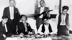 "Murder Inc group photo. From left: Pittsburgh Phil, Bugsy Goldstein, Abe ""Kid Twist"" Reles, and Happy Maione. (Photo from Biography channel's Gangsters: Murder Incorporated. Real Gangster, Mafia Gangster, Baby Face Nelson, Wife Movies, Famous Outlaws, Thug Life, The Godfather, Serial Killers, Mug Shots"
