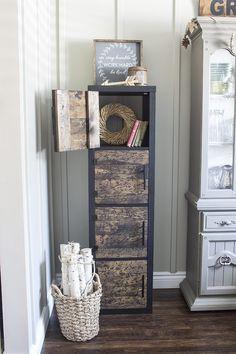 IKEA HACK: Add DIY distressed knotty pine doors to a KALLAX bookshelf unit