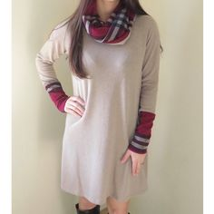 Plaid Cowlneck Sweaterdress Beautiful Plaid Cowlneck Sweaterdress.  Colors are mocha and burgundy.  Modeling size S.  Vendor stated these run similar to junior's sizes.  Didn't come with tags.  Price firm unless bundled.                                                         ▪️95% Polyester 5% Spandex.                    ▪️Hand or machine washable.                   ▪️Made in the USA🇺🇸.                                             🚫Trades Boutique Dresses Long Sleeve