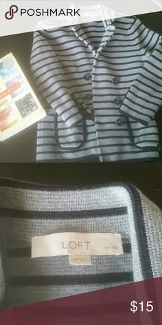 LOFT Striped Blazer Navy and gray  Thick material, 100% Cotton  Approximately 19 inches long, 15 inches from armpit to armpit  This is definitely for a petite person  Size is XS Petite LOFT Jackets & Coats Blazers
