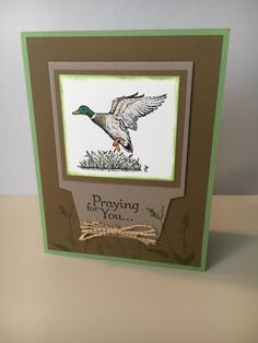 Maaculine sympathy card Stampin' Up! products Wilderness Awaits stamp of bird