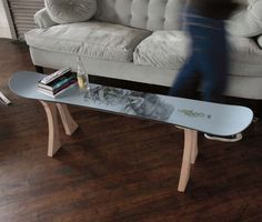 Skateboard or snowboard table - I want to do this for my guys' rooms!