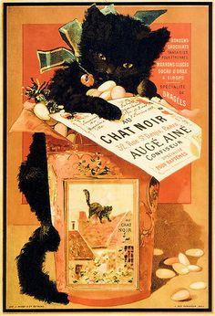Confiseur au chat noir - vintage ad.