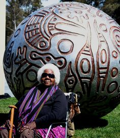 Gloria Fletcher (Aboriginal Australian: 1937 - 2011) - Thanakupi  – Ceramic spherical story pot sculpture