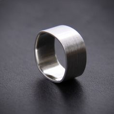 unisex sterling silver wide band ring with a squared shape