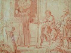 """DOMINIQUIN (d'Après) - St Nil guérit un Jeune Possédé avec l'Huile de la Lampe, Sanguine (drawing, dessin, disegno-Louvre INV9146) - Detail 01  -  TAGS /  details détail détails detalles """"dessins 17e"""" """"17th-century drawings"""" sketch sketches Museum """"Domenico Zampieri"""" """"Le Dominiquin"""" """"saint Nil"""" kid kids Bible man men hommes portrait portraits face """"little boy"""" garçon baby bébé Jésus Vierge Virgin people women female faces """"jeune femme"""" """"young woman"""" turban oriental prière prayer """"red chalk"""""""