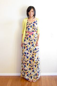 Putting Me Together: Printed Maxi Dresses Make sure you've got colored cardigans and other accessories to change it up