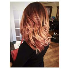 Burgundy balayage rose gold hair ombre sombre