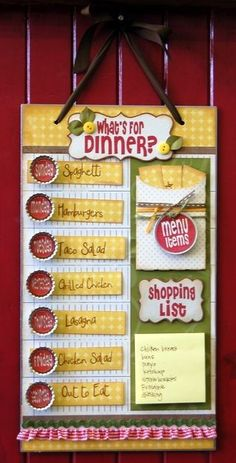 Cute menu board project! Keep your meal plans that you make over & over in the pocket and then just put them on the day you're going to serve! Easy menu planning!! Even has a space for shopping list...