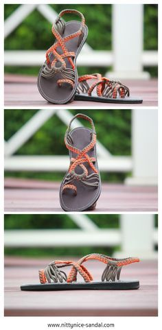 5860bfc5cc32 Playful paracord sandals in orange and grey.