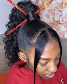 - Hair Style for All Women Curly Braided Hairstyles, Baby Girl Hairstyles, Dope Hairstyles, Braided Hairstyles For Black Women, Ponytail Hairstyles, Updos, Fringe Hairstyles, Black Hairstyles, Slicked Back Ponytail