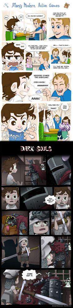 basicamente....asi se resume dark souls o demons souls cuando recien empezas.....son unos divinos.