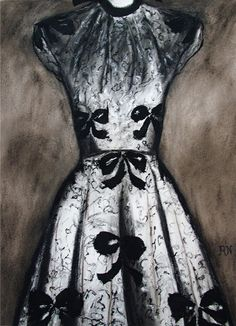 Lace dress with bowsmixed media 62 x 84cm