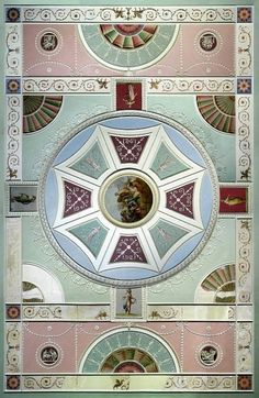Bold Pastels and Geometries: What spring meant in 18th England : Robert Adam Ceiling