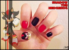 Shadow the Hedgehog Nail Art by NathyZim.deviantart.com