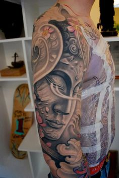 Get this surreal Buddha design for a full sleeve of masterpiece. The little delicate details such as the cracks and fragments makes the whole tattoo appear delicate and beautiful.