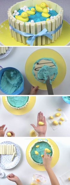 Ducks in Pond Kit-Kat Cake | DIY Baby Shower Party Ideas for Boys | DIY Birthday Party Ideas for Boys