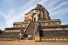 Brick stupa in the Lanna style at Wat Chedi Luang in the center of Chiang Mai, Thailand