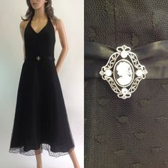 Retro Black Lace Halter Dress w/ Cameo Accented by OdettesVintage, $30.00