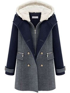 - Specification Style:Casual,Elegant,Silm Color:Dark Blue Material:Polyester,Woolen Pattern:Patchwork Size:S,M,L,XL,XXL Collar:Hooded Season:Fall,Winter Item Type:Tops Size Chart: Our Size(Type) M L X