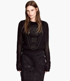 H&M Black Embellished Embroidered Sweater $70 LOVE Gorgeous