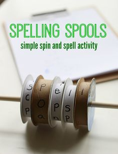Spelling Spools - fun fine motor game for spelling practice