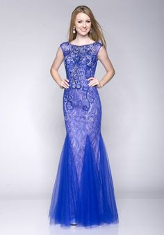 b1069ec0a6e 2016 Scoop Sleeveless Floor Length Crystals Tulle Ruched Lace Mermaid Blue  Homecoming   Prom Dresses By EC 15168