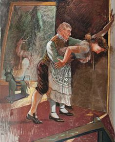PAULA REGO, The Servant, 1993–94 : Phillips, October 12, 2011, Lot 19. in a dark room with light from a hallway peering through the slightly open door, a butler engaging with a vomiting maid. Filled with ambiguity and unease, what are the butler's intentions -- is he helping her or is he taking advantage of her? Symbolism: a children's rocking pony and a stag reflected in the mirror.