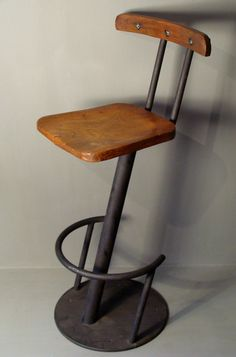 Industrial Steel & Wood Bar Stool
