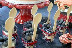 Cute way to serve berries and cream for Independence Day