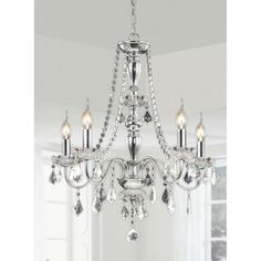 Chrome 5-light Crystal Chandelier, Silver